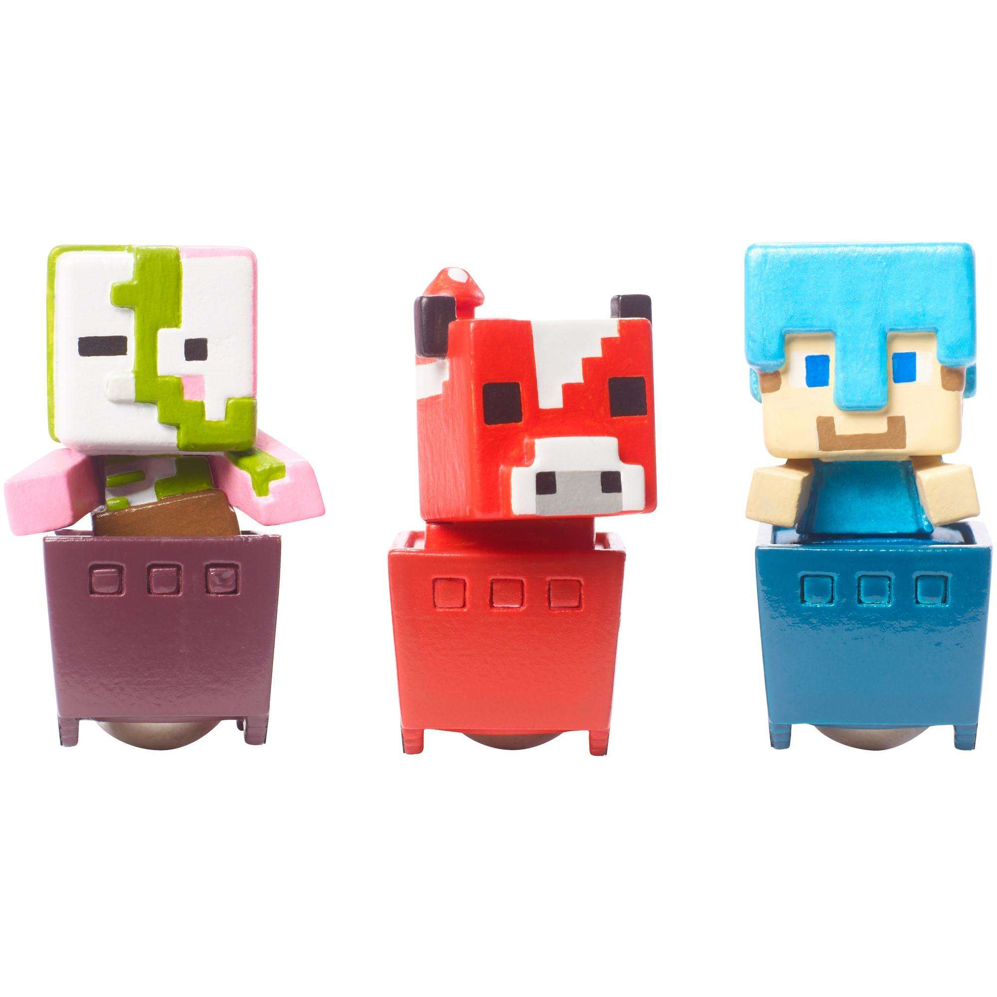 Minecraft Minecart Mini-Figure Zombie Pigman, Diamond Steve, And Mooshroom 3-Pack by Mattel