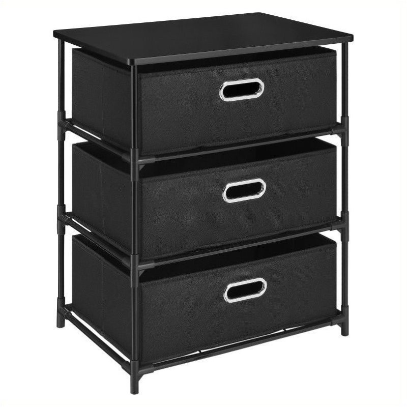 Pemberly Row 3 Bin Storage Unit in Black