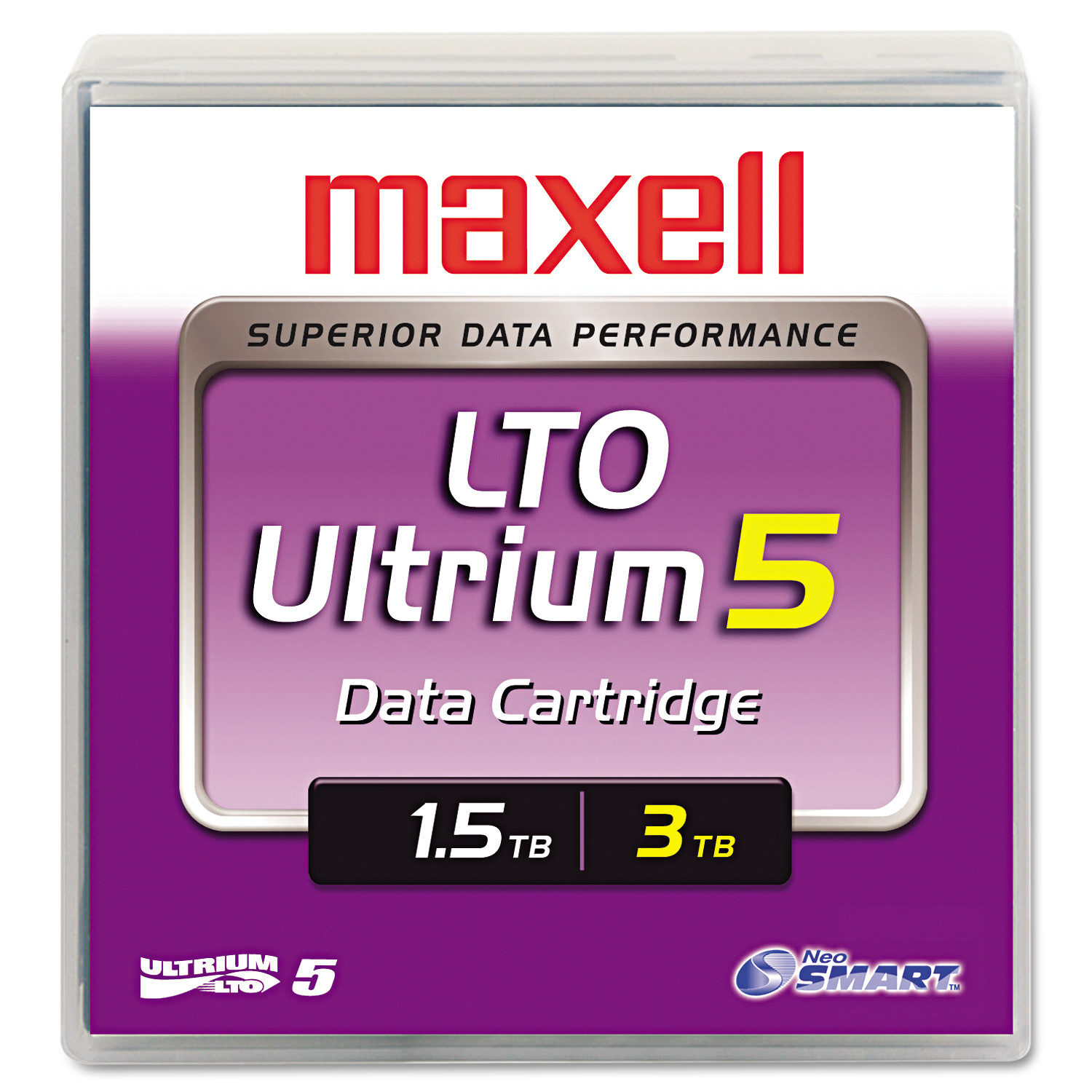 "Maxell 1/2"" Ultrium LTO-5 Cartridge, 2,776ft, 1.5TB Native/3.0TB Compressed Capacity"