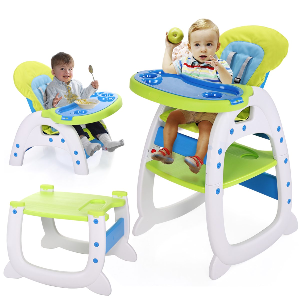 Lazymoon Blue-Green 3 in 1 Baby High Chair Convertible Play Table Seat Booster Infant Toddler Highchairs