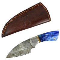 "TheBoneEdge 7"" Damascus Hunting Knife Fixed Blade Full Tang Blue Steel Knife with Sheath"