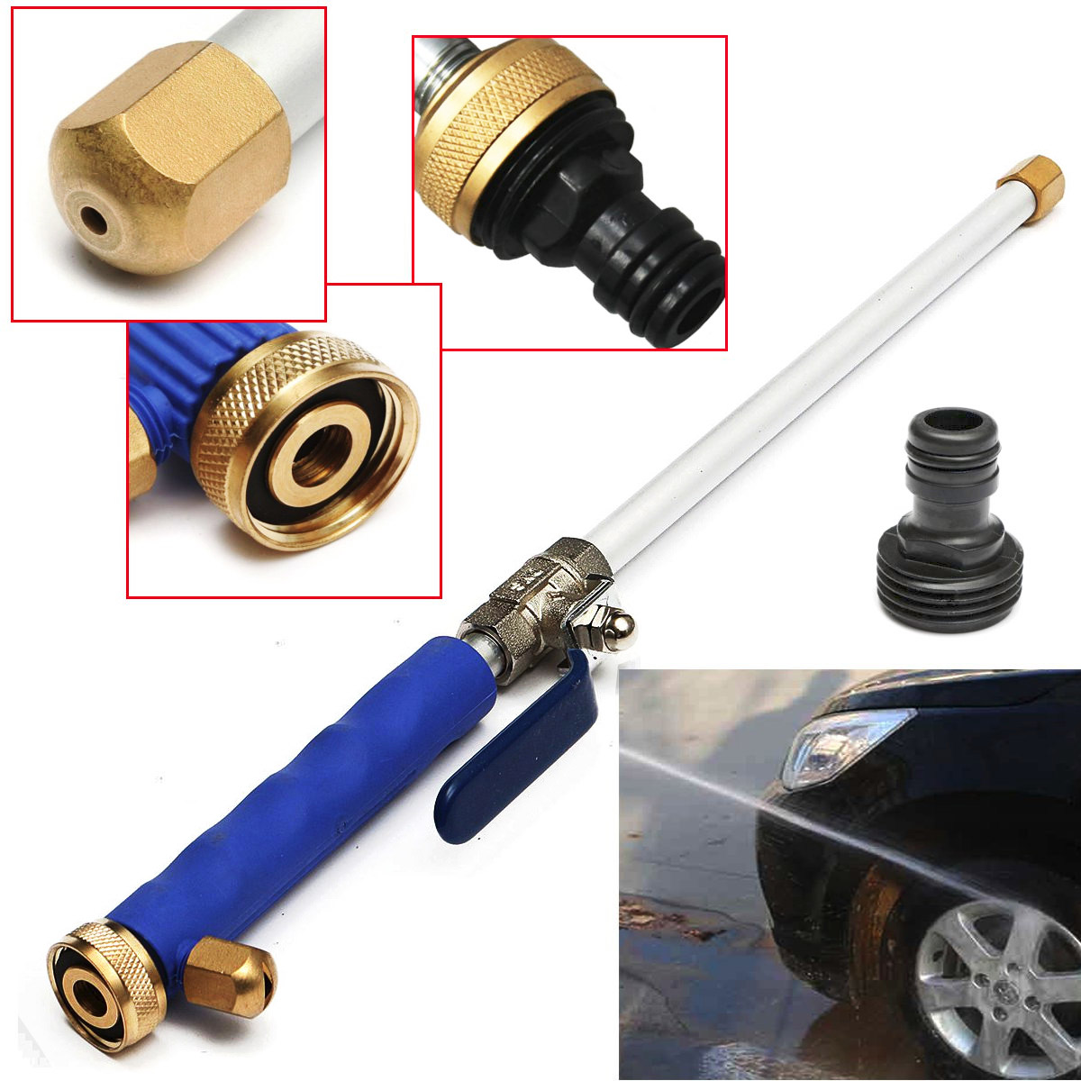 "18"" Aluminum Alloy High Pressure Water Gun Power Washer Spray Nozzle Water Hose Wand Attachment Tool"