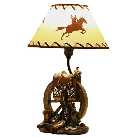 Wagon Carpet Set (Ebros Horse Saddle Set On Vintage Wagon Wheel With Cowboy Boots Desktop Table Lamp 18.25