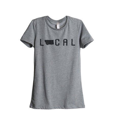 Thread Tank Local Montana State Womens Relaxed Crewneck T Shirt Tee Heather Grey Small