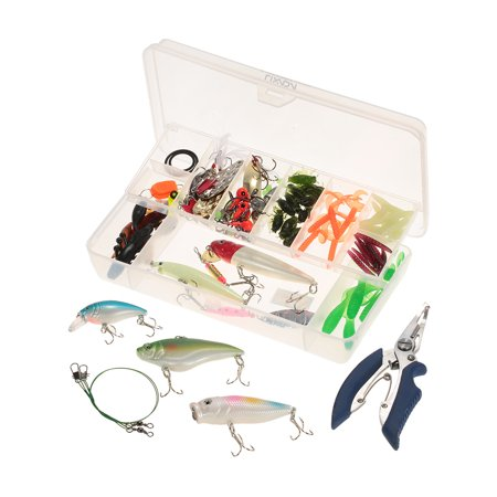 Lixada 100pcs Assorted Fishing Gear Hard Lure Baits Metal Sequins Soft Tail Worm Lures Fishing Pliers Offset Hook Swivel Fishing Tackle Kit Set with Case - Metal Tail Gear