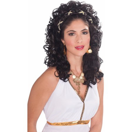 Adult Womens Black Roman Grecian Goddess Renaissance Princess Costume Wig