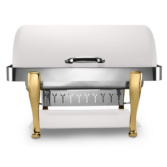 Bon Chef 19040-Bianco 2 gal Elite Stainless Steel Rectangular Chafer with Roman Legs & Bianco