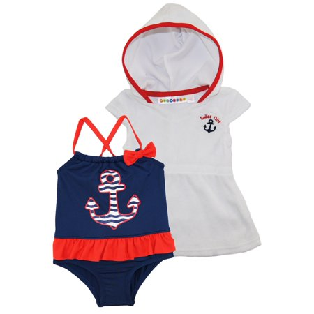 8a44163ee0 WIPPETTE KIDS - Wippette Baby Girls Anchor One Piece Swimsuit Beach Terry  Dress Cover Up Set - Walmart.com