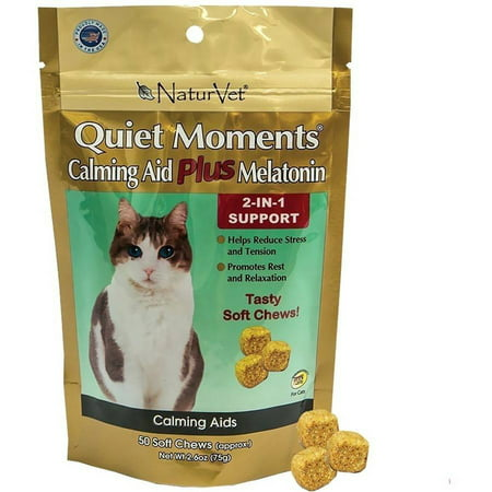 NaturVet Quiet Moments Calming Aid Plus Melatonin for Cats, 50 soft chews