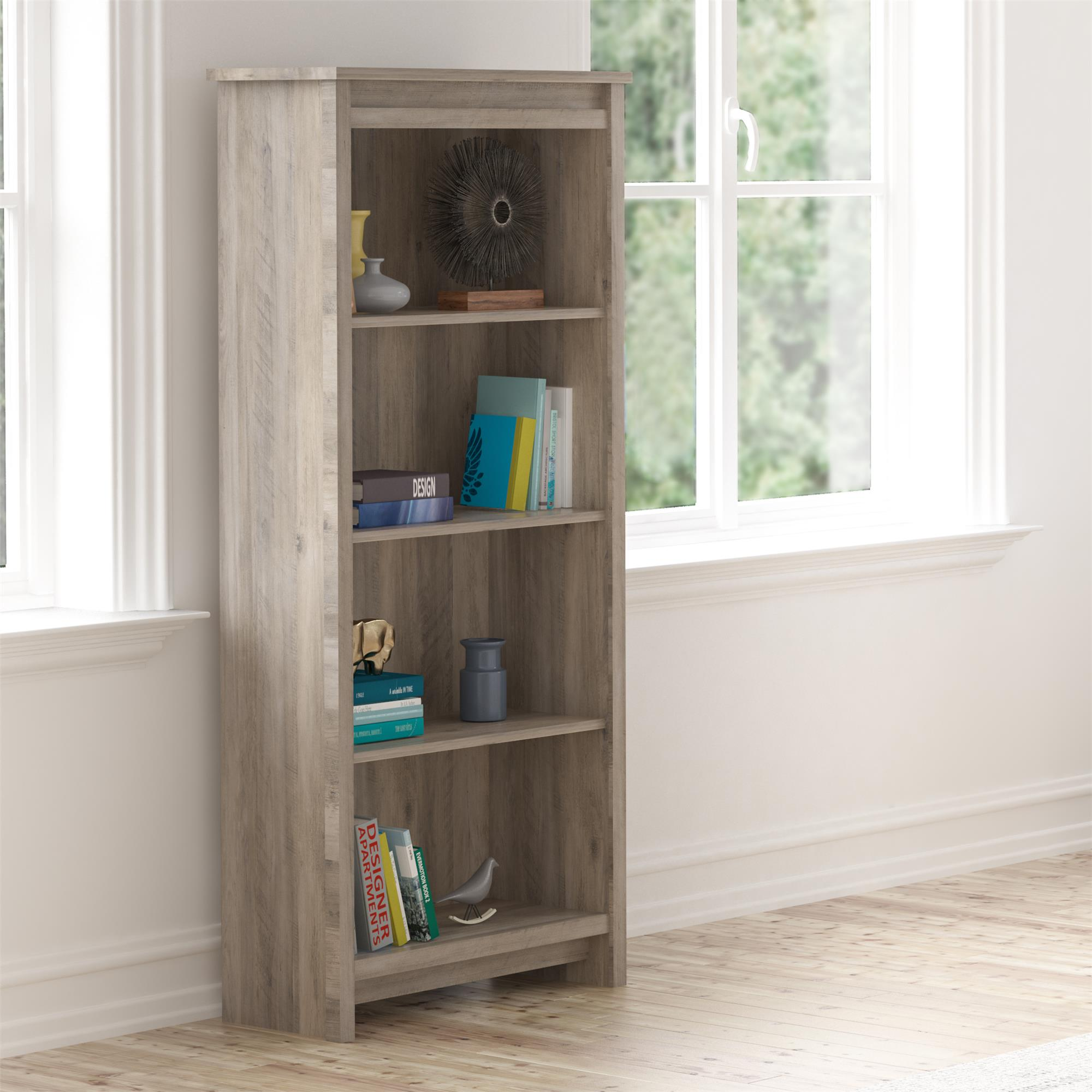 Better Homes & Gardens Emory 4 Shelf Bookcase, Gray Oak