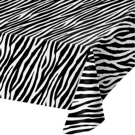 Creative Converting Zebra Print Plastic Tablecloth, 54