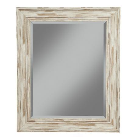 Farmhouse Antique White Wash Wall Beveled Mirror 36