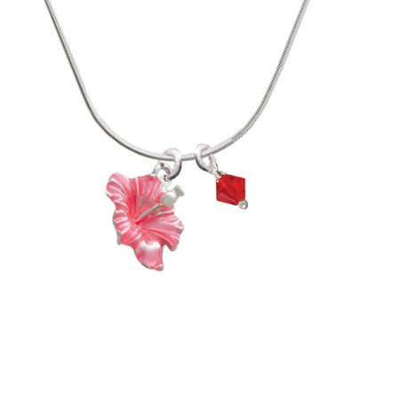 Delight Jewelry Hot Pink Hibiscus Flower Red Bicone Crystal