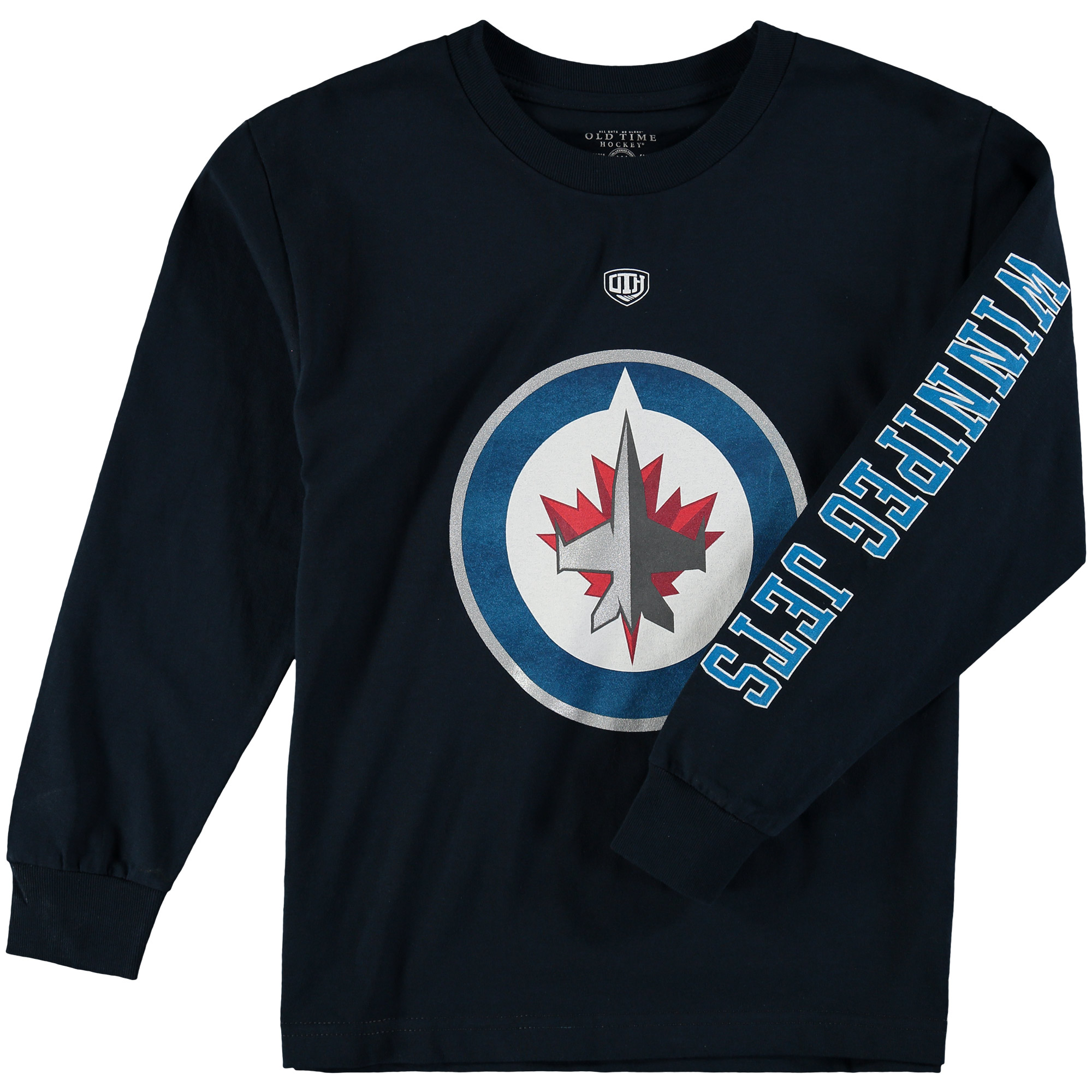 Winnipeg Jets Old Time Hockey Youth Two Hit Long Sleeve T-Shirt Navy by Old Time Hockey