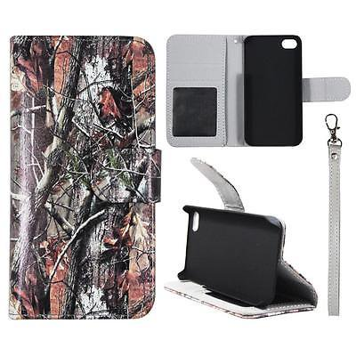 Wallet Brown Oak Camo For Iphone 4 4S Syn Leather Folio Dual Layer Interior Design Flip PU Leather case Cover Card Cash Slots & Stand