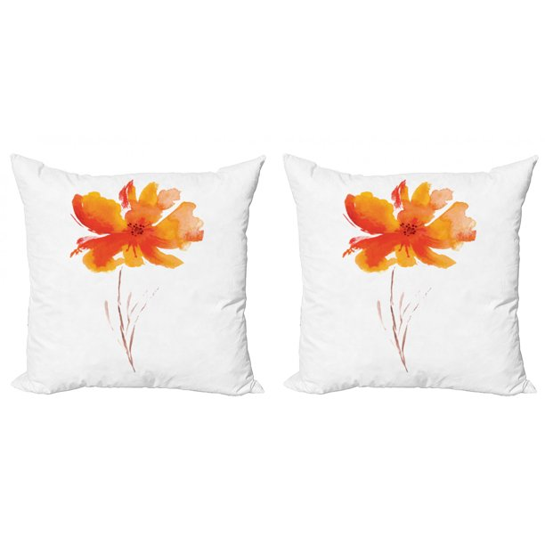 Watercolor Flower Throw Pillow Cushion Cover Pack Of 2 Single Poppy Flower On Plain Clear Background Nature Inspired Romantic Zippered Double Side Digital Print 4 Sizes White Orange By Ambesonne Walmart Com