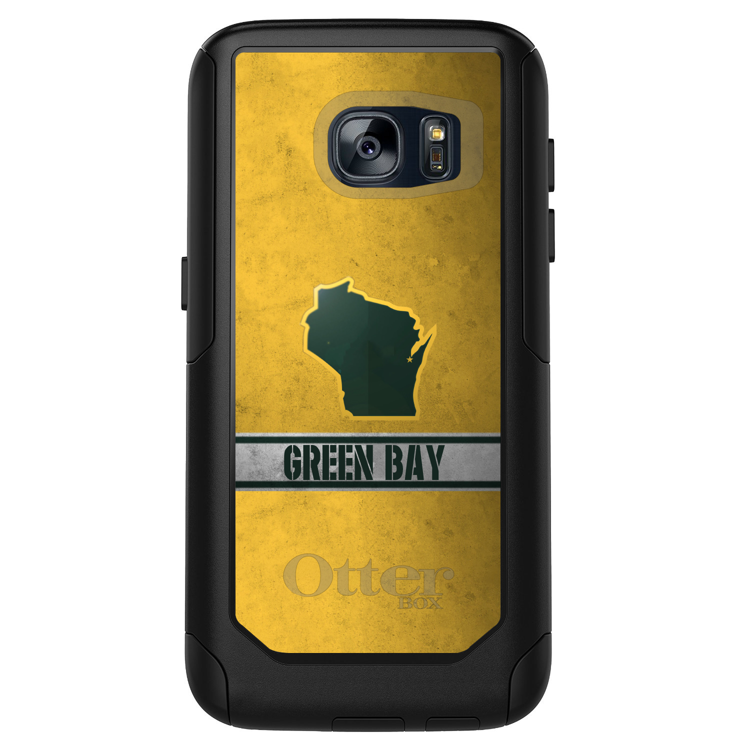 DistinctInk™ Custom Black OtterBox Commuter Series Case for Samsung Galaxy S7 - Green Bay Wisconsin