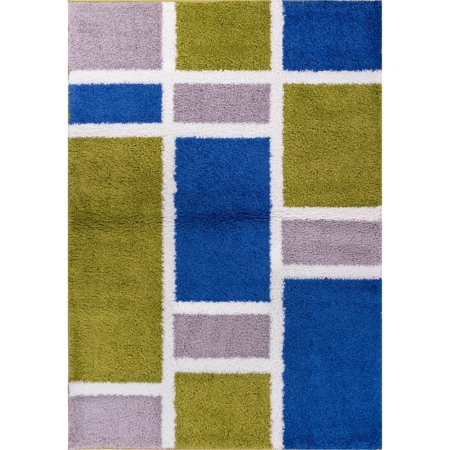 Well Woven Madison Shag Geo Concept Modern Area Rug, Green -