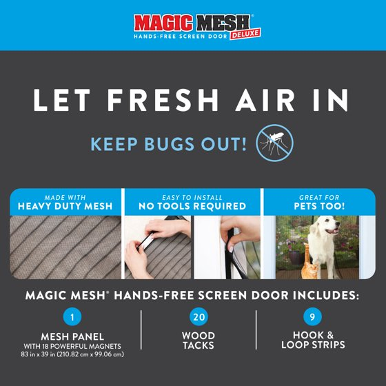 3cf44003 Magic Mesh Deluxe Magnetic Hands Free Screen Door Cover As Seen on TV -  Walmart.com