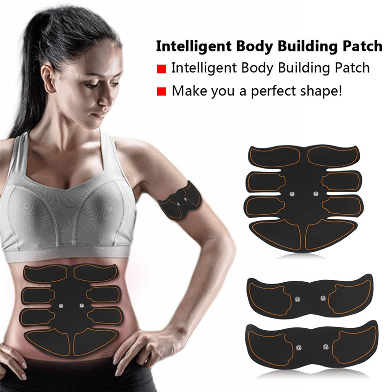 Muscle Trainer Toner - Abdominal Toning Belt - 6 Modes Portable EMS Body Muscle Training Patch Belly Sticker- Rhythm & Soft Impulse for Arm, Waist Muscles Exercise,Home/Gym Workout Fitness Equipment