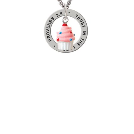 Resin Mini White Cupcake with Pink Frosting Proverbs 3:5 Affirmation Ring Necklace - Cupcake Jewelry