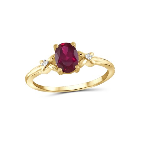 3/4 Carat T.G.W. Ruby And White Diamond Accent 14k Gold Over Silver - Sun Ruby Ring