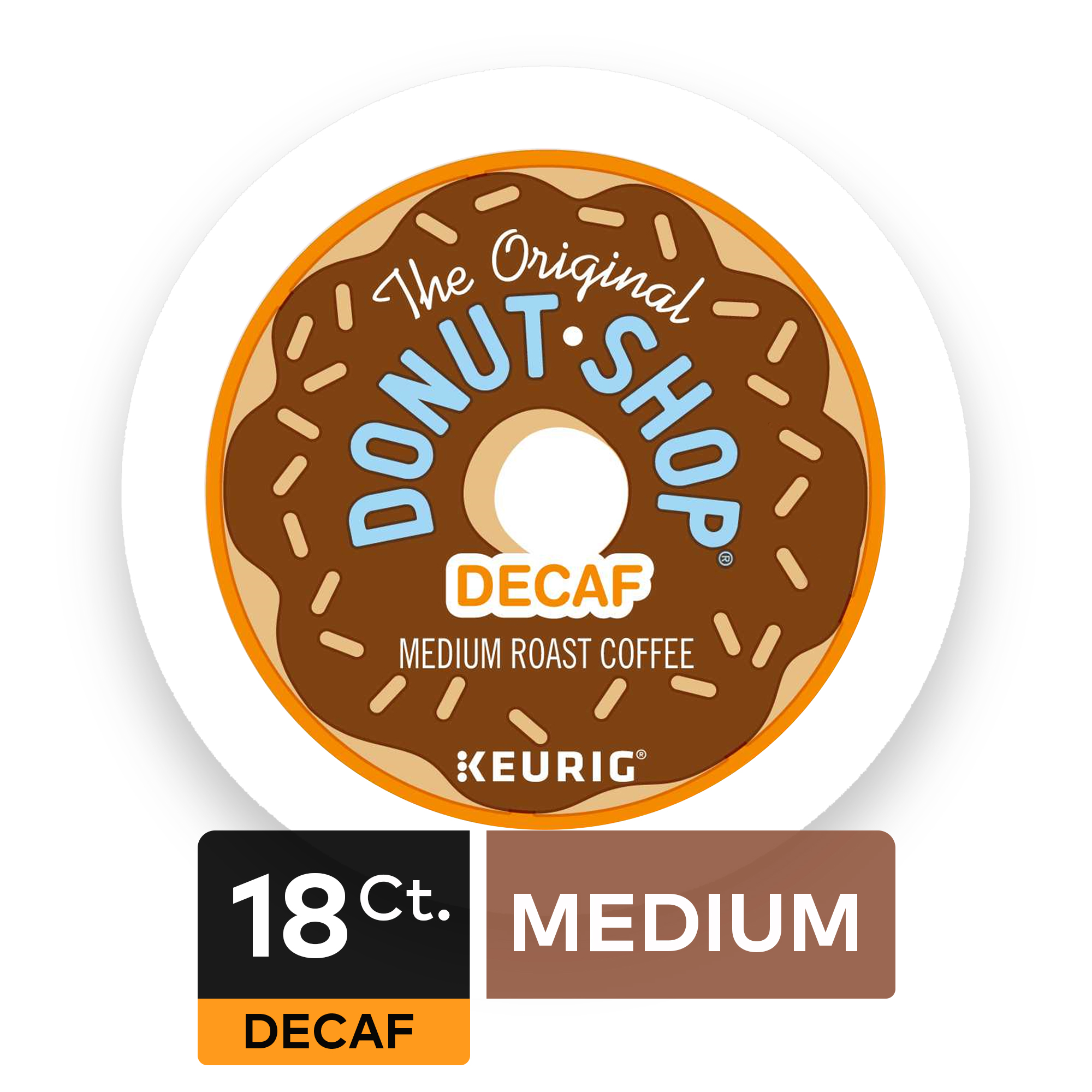 (4 Pack) The Original Donut Shop Decaf Coffee, Keurig K-Cup Pods, Medium Roast, 18 Count