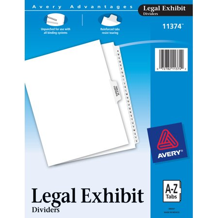 Avery Collated Legal A-Z Exhibit - Legal Size Dividers