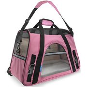 We offer Pet Carrier Soft Sided Large Cat Dog Comfort Rose Wine Pink Bag Travel Approved [Istilo2322