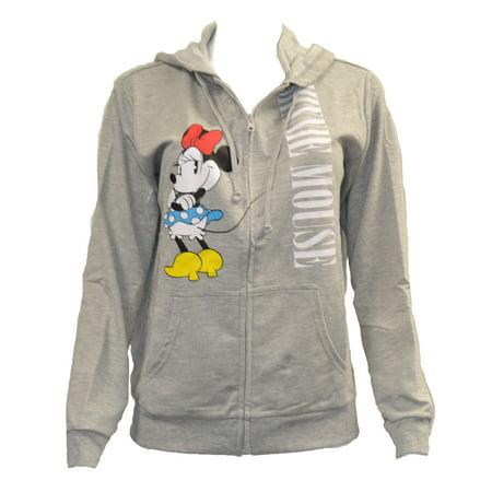 Women's Juniors Lightweight Minnie Mouse Zip Up Hoodie Jacket (S)