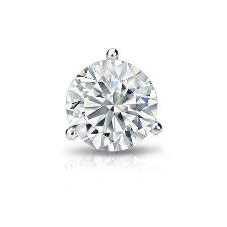Diamond Single Earring - 14k Gold 3-Prong Martini Round Diamond SINGLE STUD Earring (1/5 ct, H-I, I2-I3) Screw-Back