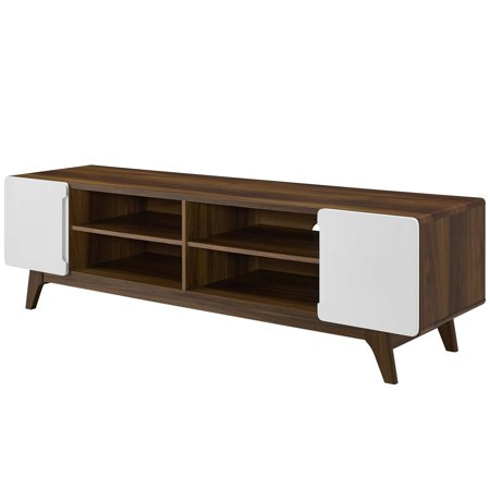 Modern Contemporary Urban Design Living Room Lounge Club Lobby Media TV Stand Console Table, Wood, Natural Brown White