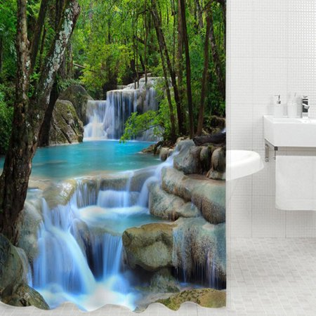 Fabric Decor Shower Curtain 3D Vivid Nature Beauty Waterproof Waterfall And Forest 72
