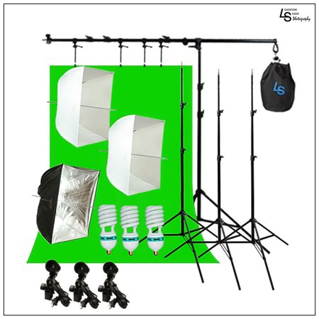 Boom Arm Extension Continuous Lighting Light Stand Kit with Umbrella  Softbox and 6x9' Green Screen Backdrop by Loadstone Studio WMLS0993