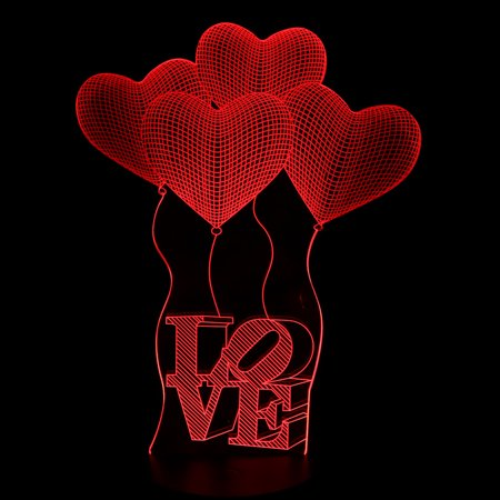 DC 5V Heart-Shaped Balloon 3D Acrylic  Night Light Desk Table Lamp 7 Color - image 3 of 6