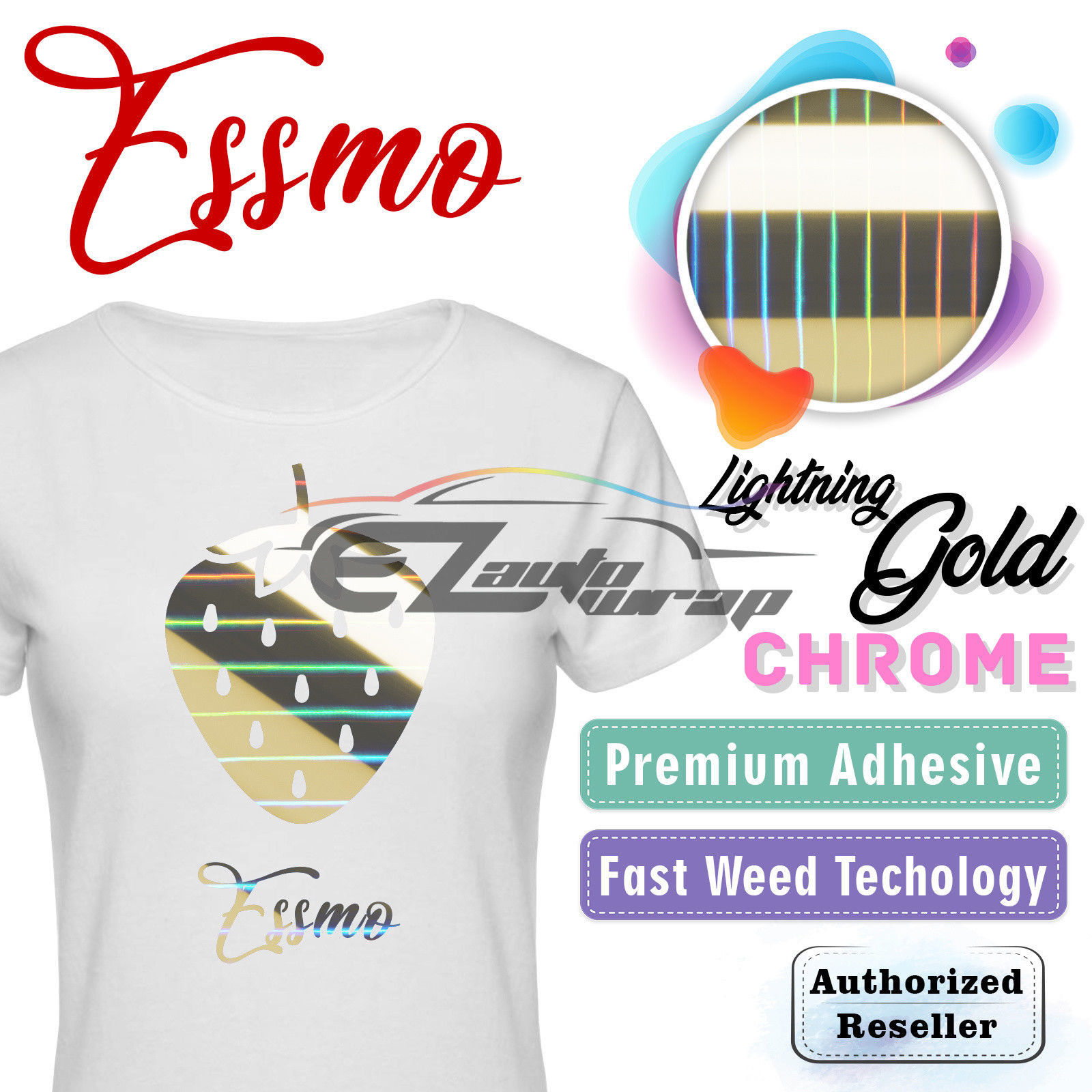 "ESSMO Lightning Gold Chrome Heat Transfer Vinyl HTV Sheet T-Shirt 20"" Wide Iron On Heat Press 20""x12"""