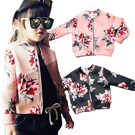 Kacakid Cute Infant Kids Child Girl Long Sleeve Coat Jacket Flower Pattern Outerwear