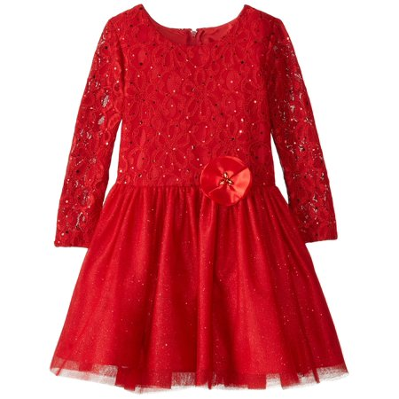 Rare Editions Little Girls Lace To Glitter Tulle with Satin Flower Dress 6 - 70's Dress Attire