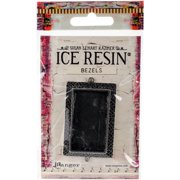 Ice Resin Milan Bezels Closed Back Rectangle Large-Antique Silver