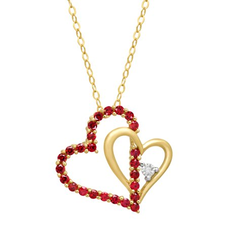 1/2 ct Created Ruby Double Heart Pendant Necklace with Diamond in 14kt Gold