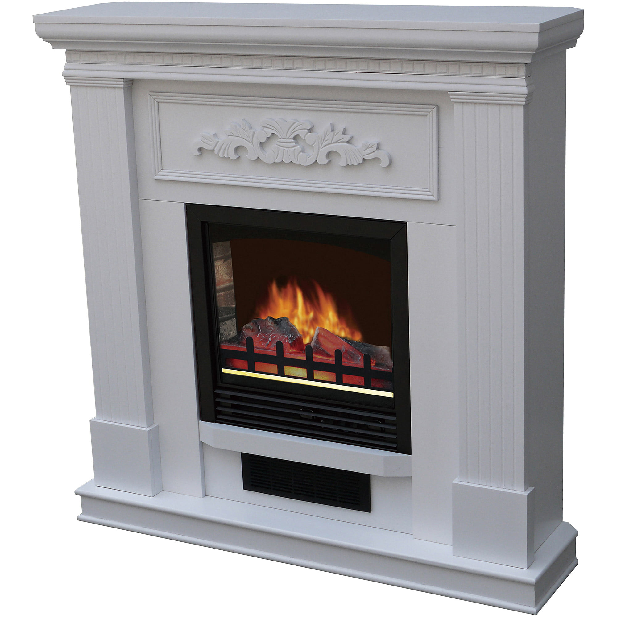 "Electric Fireplace with 38"" Mantle, White by Electric Fireplaces"