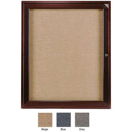 Ghent PB13624F-93 36 in. x 24 in. 1-Door Bronze Aluminum Frame Enclosed Fabric Tackboard - Blue