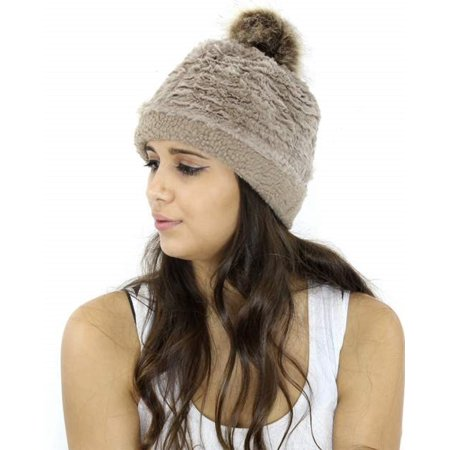 - Women's Winter Hand Knit Faux Fur Pom Pom Beanie Hats (HT114-KK) Women's Winter Hand Knit Faux Fur Pompoms Beanie Hat