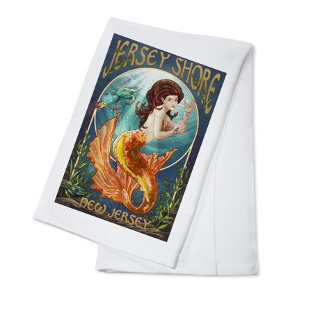 Jersey Shore - Mermaid - Lantern Press Artwork (100% Cotton Kitchen Towel)