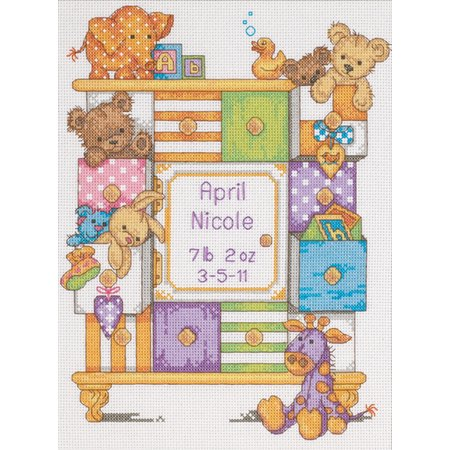 "Dimensions Baby Hugs ""Baby Drawers"" Birth Record Counted Cross Stitch Kit , 14ct, 9"" x 12"""