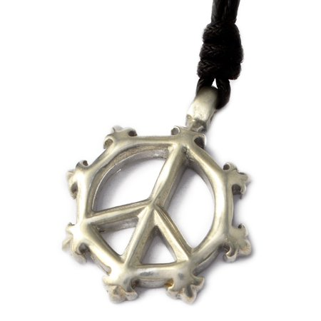 New Peace Sign Silver Pewter Charm Necklace Pendant Jewelry With Cotton - Pewter Peace Sign Charms