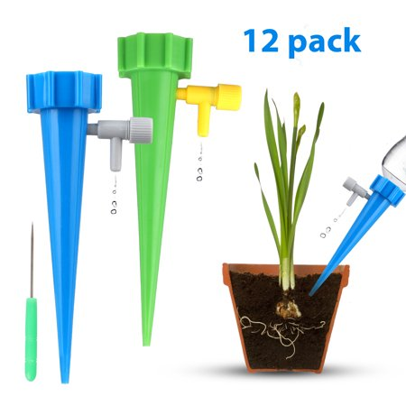 5l Garden - TSV 12PCS Plants Automatic Watering Spikes Self Watering Devices Drippers For Potted Plant Flower Indoor Outdoor, Slow Release Control Valve Irrigation System Waterer for Holiday Vocation Garden Lawn