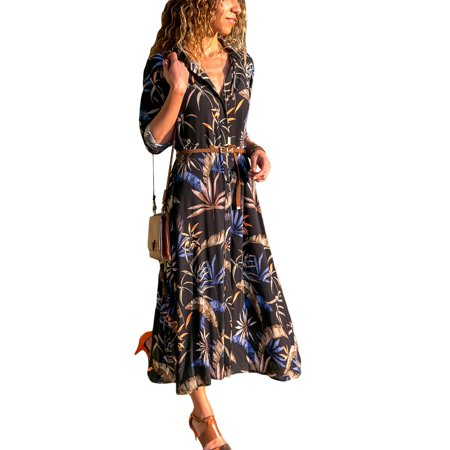 Women Long Sleeve Floral Print Button Shirt Dress Ladies Autumn Long Maxi Lapel V Neck Casual Loose Pockets Belt Dress