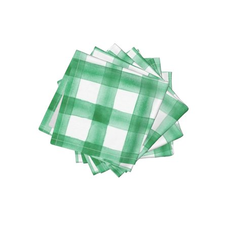 Cocktail Napkins Irish Irish Kelly Green Gingham Check Irish Green Set of (Gingham Cocktail)