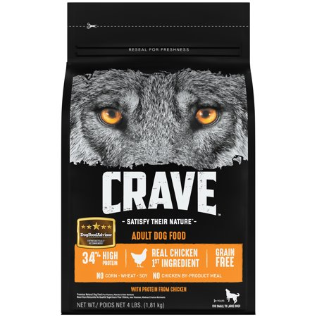 Crave Control (CRAVE Grain Free Adult Dry Dog Food with Protein from Chicken, 4 lb. Bag)